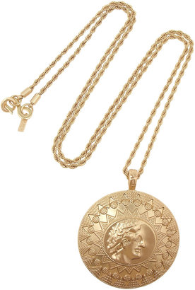 Kenneth Jay Lane Brushed gold-plated necklace