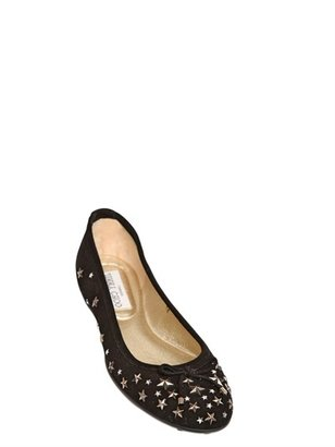 Jimmy Choo Willow Stars And Suede Ballerina Flats