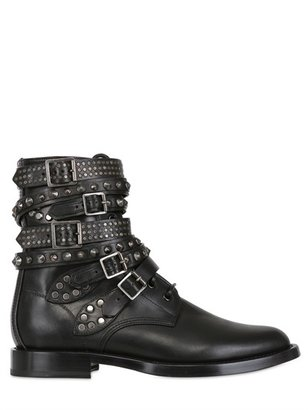 Saint Laurent 25mm Rangers Studded Calf Biker Boots