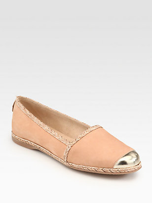 Stuart Weitzman Tipadrille Espadrille-Trimmed Leather Loafers