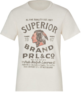 Ralph Lauren Blue Label Antique Cream Superior Print Cotton T-Shirt