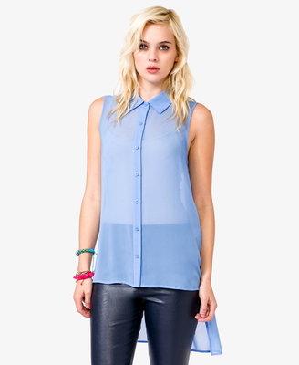 Forever 21 sleeveless chiffon high-low shirt