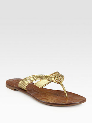 Tory Burch Thora Metallic Snake-Print Leather Thong Sandals