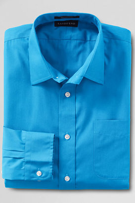 Lands' End Men's Regular Long Sleeve Straight Collar Blend Broadcloth Shirt