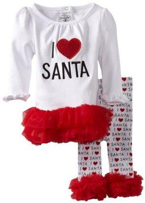 Mud Pie Baby-Girls Infant I Love Santa Tunic and Leggings Set