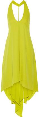 Halston Draped-back georgette halterneck dress