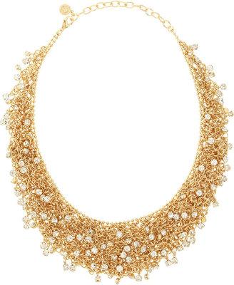 RJ Graziano Golden Mesh Scattered Rhinestone Necklace
