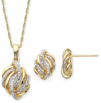 FINE JEWELRY 1/10 CT. T.W. Diamond Love Knot Pendant Necklace & Earrings Boxed Set