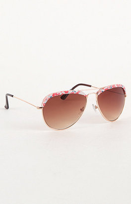 With Love From CA Printed Top Aviator Sunglasses