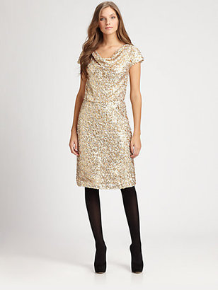 Josie Natori Sequin Cowlneck Dress