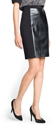 MANGO Outlet Faux Leather Panel Skirt