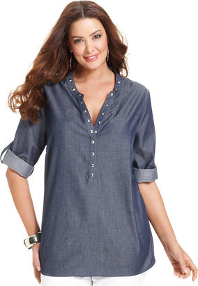 NY Collection Plus Size Three-Quarter-Sleeve Chambray Studded Tunic Top
