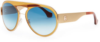 Balenciaga Transparent Aviator Sunglasses, Amber/Blue