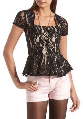 Charlotte Russe Square Neck Lace Peplum Top