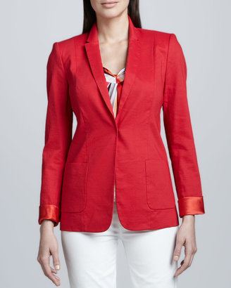 Elie Tahari Wendy Linen-Blend Cuffed Jacket
