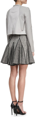 Halston Outlined Printed Flare Dress