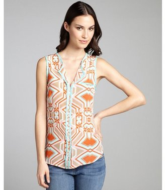 Matty M tangerine and turquoise printed silk sleeveless blouse