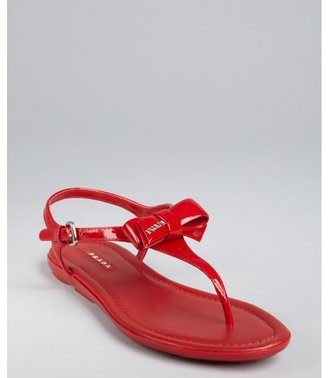 Prada Sport red leather bow detail thong sandals