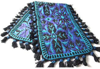 Modish Vintage Hand Woven Blue Tapestry