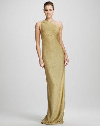 Carmen Marc Valvo One-Shoulder Metallic Gown