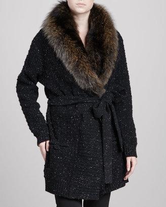 Carolina Herrera Long Fox Fur-Collar Cardigan