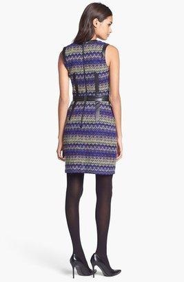 Milly Wool & Leather Sheath Dress