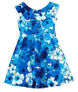 Rare Editions Girls' 7-16 Blue/White Floral Print Cap Sleeve Dress
