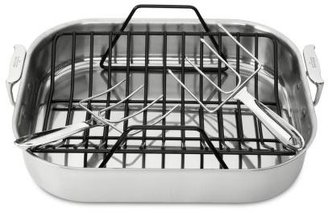 """All-Clad Stainless Roasting Pan with Rack + Bonus Lifters, 16"""" x 13"""" x 3"""""""