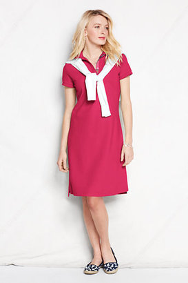 Lands' End Women's Short Sleeve Madras Trim Polo Dress