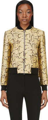 Stella McCartney Gold Tone Python Pattern Bomber Jacket