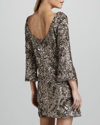 Marchesa Sequined Silk Tunic Dress
