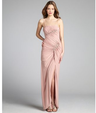 Mignon blush jersey knit shirred crystal embellished strapless gown