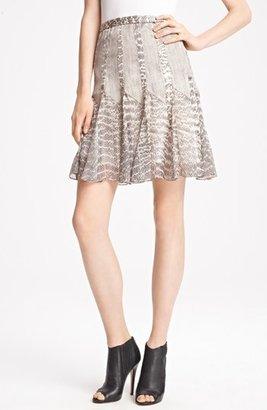 Jason Wu Snakeskin Print Satin & Chiffon Skirt