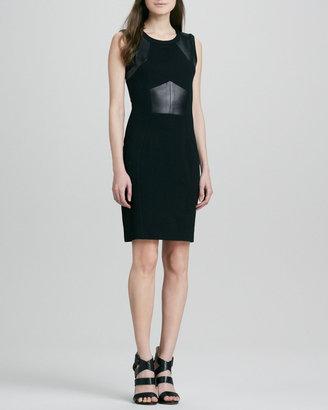 Yoana Baraschi Knit & Leather Inset-Waist Dress