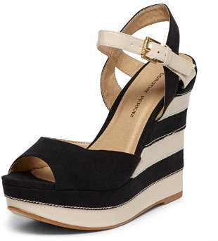 Dorothy Perkins Black and cream striped wedges