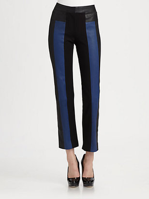 Halston Leather Colorblocked Ankle Pants