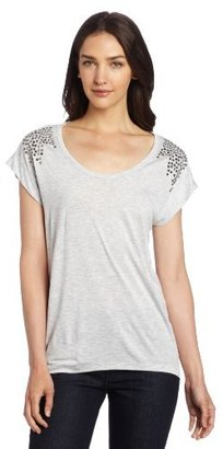 Vince Camuto Two by Women's Short Sleeve Tee With Studded Shoulders