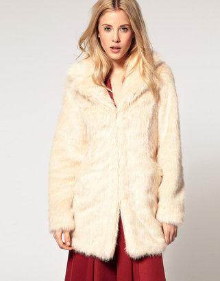 Asos Faux Fur Coat With Lapel