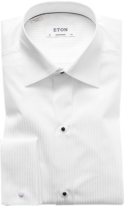 Eton White Satin Striped Evening Shirt - Contemporary Fit