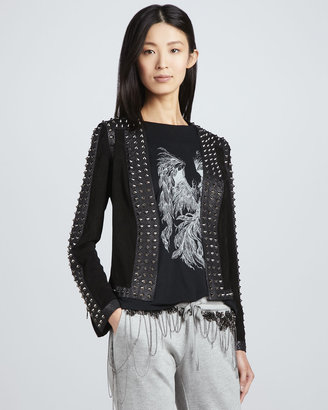 Haute Hippie Studded Suede/Leather Jacket