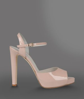 Emporio Armani Open Toe Sandal With Patent Effect And Ankle Strap