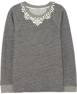 J.Crew Crystal-embellished cotton-terry sweatshirt