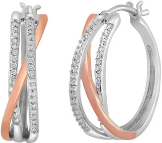 FINE JEWELRY 1/10 CT. T.W. Diamond Two-Tone Triple-Hoop Earrings $124.98 thestylecure.com