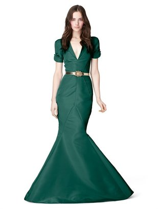 Oscar de la Renta Rolled Short Sleeve V-Neck Slim Fishtail Gown