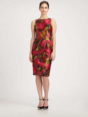 Michael Kors Zinnia Printed Wool & Silk Shantung Dress