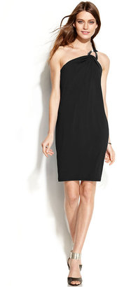 MICHAEL Michael Kors One-Shoulder Hardware Dress