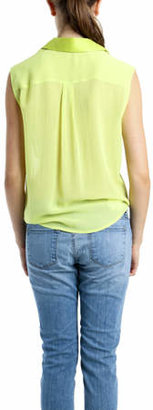 Equipment Diem Tie Front Blouse in Lime