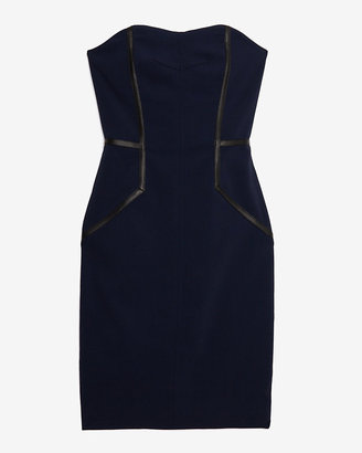 Yigal Azrouel Leather Seam Detail Strapless Dress
