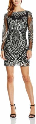 Frock and Frill Women's All Over All Over Embellished Shift with Long Sleeve Dress