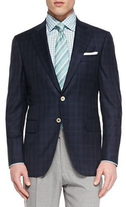 Isaia Plaid Two-Button Jacket, Navy/Green $2,895 thestylecure.com
